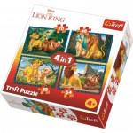 Trefl-34317 4 Puzzles - Lion King