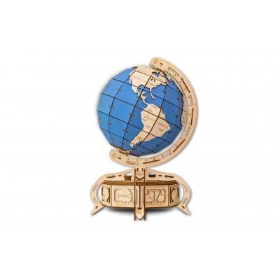 Eco-Wood-Art-39 3D Holzpuzzle - Globe (Blau)