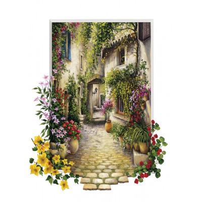 Puzzle Art-Puzzle-4189 Dorfgasse in voller Blüte