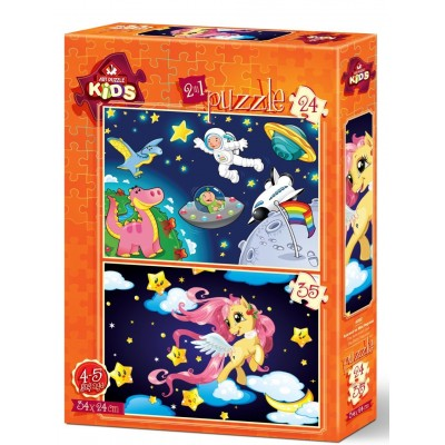 Art-Puzzle-4492 2 Puzzles -  The Astronaut and The Baby Pegasus