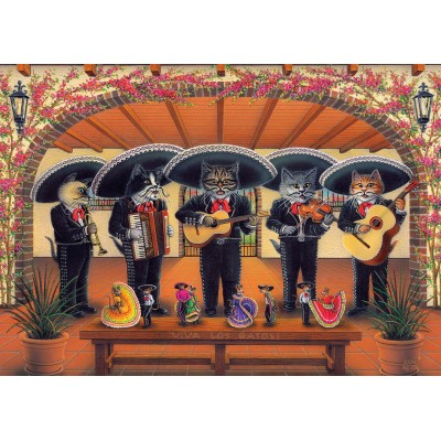 Puzzle Art-Puzzle-5082 Flamenco Meow Team
