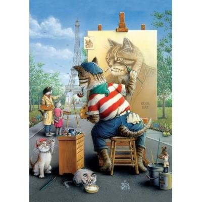 Puzzle Art-Puzzle-5087 Painter Cat