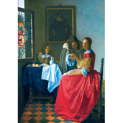 Puzzle Art-by-Bluebird-60067 Vermeer- The Girl with the Wine Glass, 1659