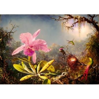 Puzzle  Art-by-Bluebird-60097 Martin Johnson Heade - Cattleya Orchid and Three Hummingbirds, 1871