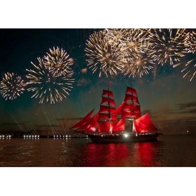 Puzzle Bluebird-Puzzle-70041 Fireworks around a Sailboat