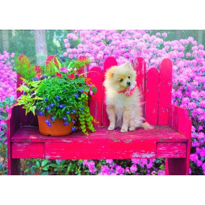 Puzzle  Bluebird-Puzzle-70042 Puppy in the Colorful Garden