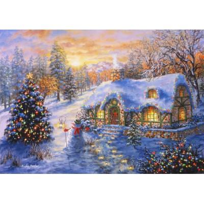 Puzzle Bluebird-Puzzle-70065 Christmas Cottage