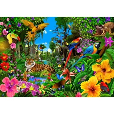Puzzle  Bluebird-Puzzle-70150 Jungle Sunrise