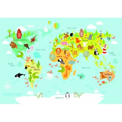 Puzzle  Bluebird-Puzzle-70357 World Map for Kids