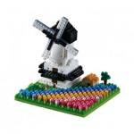 Brixies-58655 Nano 3D Puzzle - Windmühle mit Tulpen (Level 3)