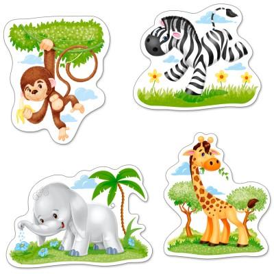 Castorland-005017 4 Puzzles mit extragroßen Teilen - Tiere Afrikas