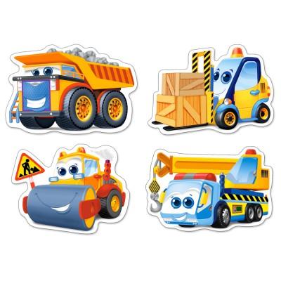 Castorland-005024 4 Puzzles mit extragroßen Teilen - Baufahrzeuge