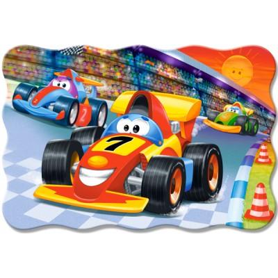 Castorland-02306 Minipuzzle - Autorennen