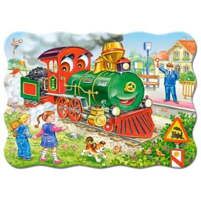 Puzzle  Castorland-03433 Grüne Lokomotive