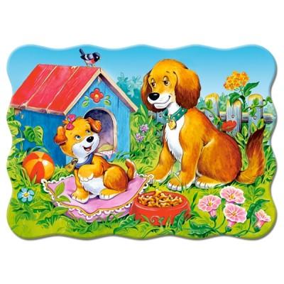 Puzzle Castorland-03549 Hunde im Garten