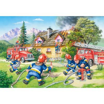 Castorland-040025 Maxi Puzzle - Feuerwehrleute in Aktion