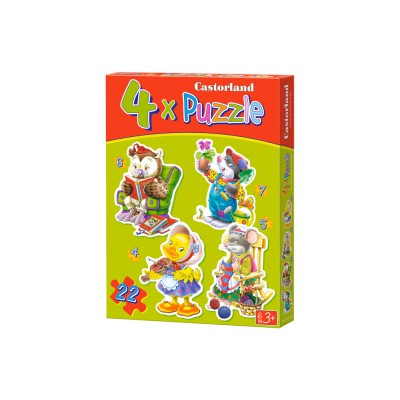 Castorland-04102 Puzzle 4 Puzzles – Lustige Tiere