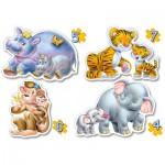 Castorland-04249 4 Puzzles: Tierbabys im Dschungel