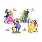 Castorland-04256 4 Puzzles - Princesses in Love