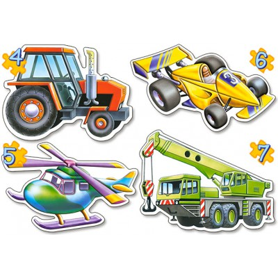 Castorland-04263 4 Mini-Puzzles: Fahrzeuge