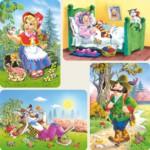 Castorland-04294 4 Puzzles: Rotkäppchen