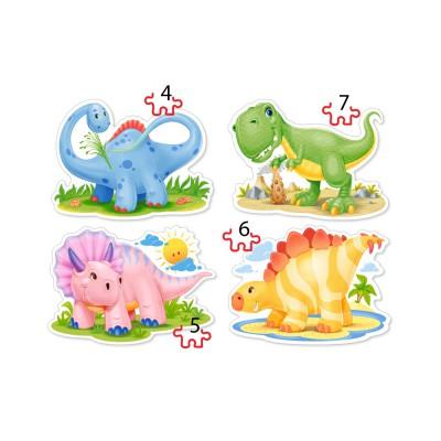 Castorland-04386 4 Puzzles - Dinosaurierbabies