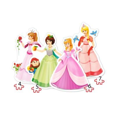 Castorland-04409 4 Puzzles - Prinzessinnen