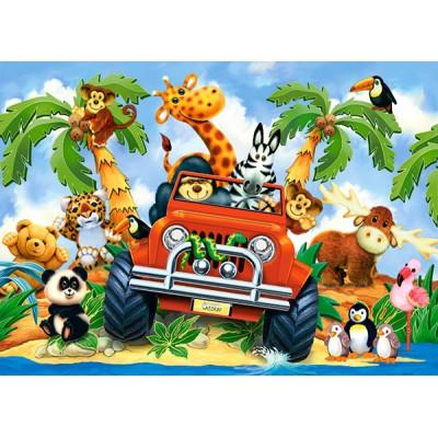 Puzzle  Castorland-06793 Stubenhocker auf Safari