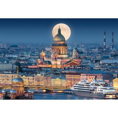 Puzzle  Castorland-103447 Vollmond über der Isaakskathedrale, Sankt Petersburg