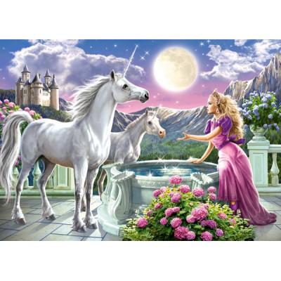 Puzzle  Castorland-13098 Die Prinzessin und ihre Einhörner