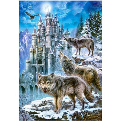 Puzzle Castorland-151141 Wölfe vor dem Schloss