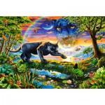 Puzzle  Castorland-151356 Panther im Sonnenuntergang