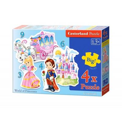 Castorland-B-005031 4 Puzzles mit extragroßen Teilen - Prinzessinnen
