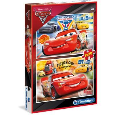 Clementoni-07027 2 Puzzles - Cars 3