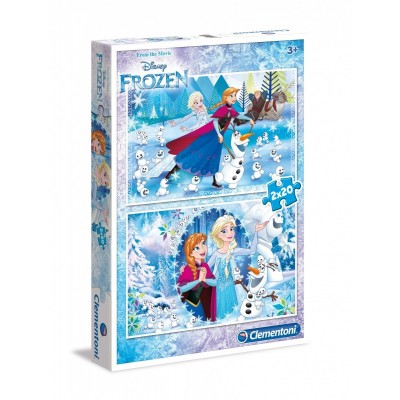 Clementoni-07030 2 Puzzles - Frozen