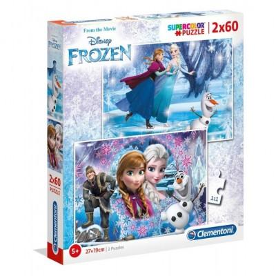 Clementoni-07119 2 Puzzles - Frozen