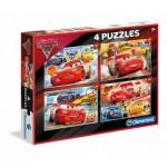 Clementoni-07611 4 Puzzles - Cars 3