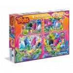 Clementoni-07716 4 Puzzles - Trolls