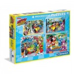 Clementoni-07718 4 Puzzles - Mickey and the  Roadster Racers