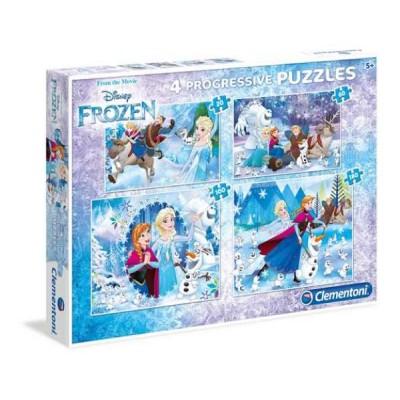 Clementoni-07723 4 Puzzles - Frozen