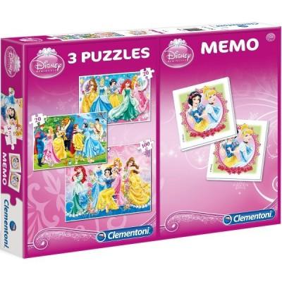 Clementoni-07806 3 Puzzles + Memo - Disney Princess