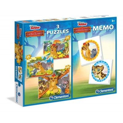 Clementoni-07810 3 Puzzles + Memo - The Lion Guard