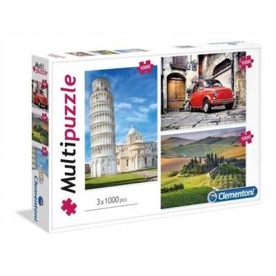 Clementoni-08011 3 Puzzles - Italien