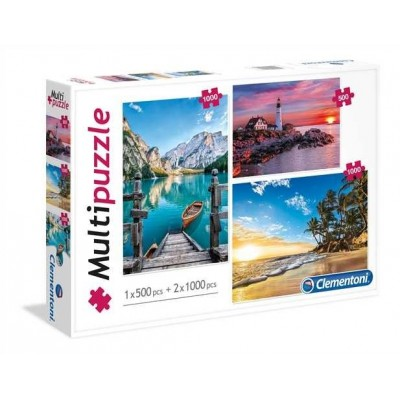 Clementoni-08106 3 Puzzles - Berg, Leuchtturm, Paradise Beach