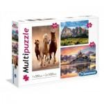 Clementoni-08107 3 Puzzles - Pferde, Berg, Mont Saint-Michel