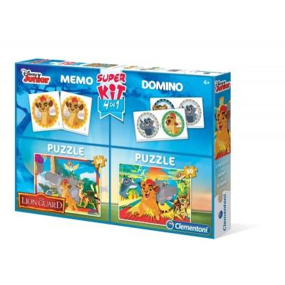 Clementoni-08212 2 Puzzles Lion Guard + Memo + Domino