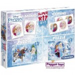 Clementoni-08216 Super Kit 4 in 1 - Frozen - 2 Puzzles + Memo + Domino