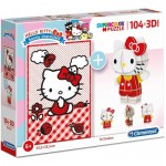 Clementoni-20171 Hello Kitty - Puzzle and 3D Model