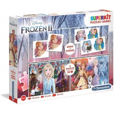 Clementoni-20241 Superkit 4 in 1 - Frozen 2 (2 Puzzles + Memory + Domino)