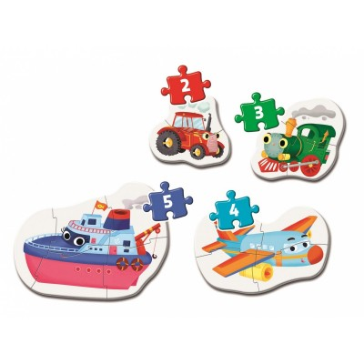 Clementoni-20811 My First Puzzle - Transports (4 Puzzles)
